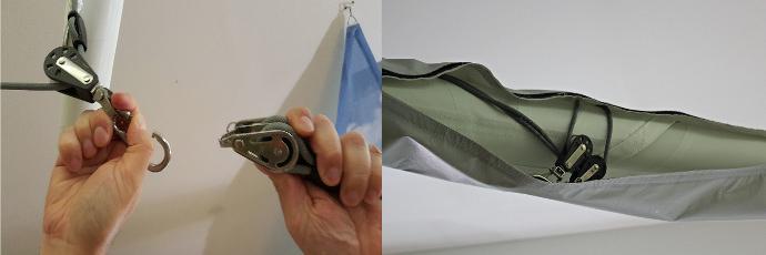 Anbringung der Winterschutz-Persenning an ein manuell aufrollbares Sonnnensegel