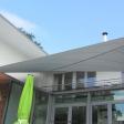 Seitenansicht links Harsewinkel - Sonnensegel über Terrasse und Wintergarten