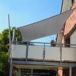 Sonnensegel feststehend Hamm-Uentrop 2M / 2W graues Segel über einen Balkon