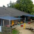 2 Sonnensegel feststehend Pulheim 2M / 2W II. blaue Segel vor einem Haus