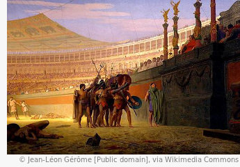 Gruß der Gladiatoren im römischen Reich im Kolosseum unter dem Velarium in Rom