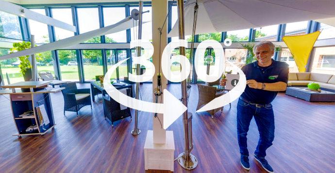 Virtueller Rundgang durch die Sonnensegel Ausstellung der Pina GmbH in NRW